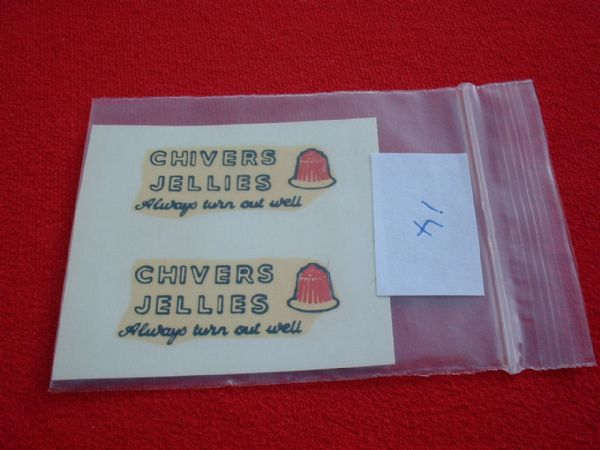 "Dinky Toys 452 TROJAN ""CHIVERS JELLIES ALWAYS TURN OUT WELL"" TRANSFERS / DECALS"